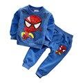 НОВЫЙ человек-паук дети мальчики одежда наборы детская одежда с длинным рукавом мультфильм повседневная толстовка + брюки 2 шт. мальчиков тис спорт костюм