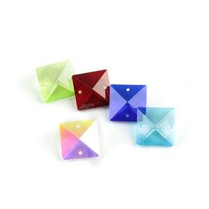 Image 3 - Couleurs 22mm perles carrées en cristal dans 2 trous pour accessoires de décoration de la maison, perles de rideau en cristal, perle de lustre en cristal