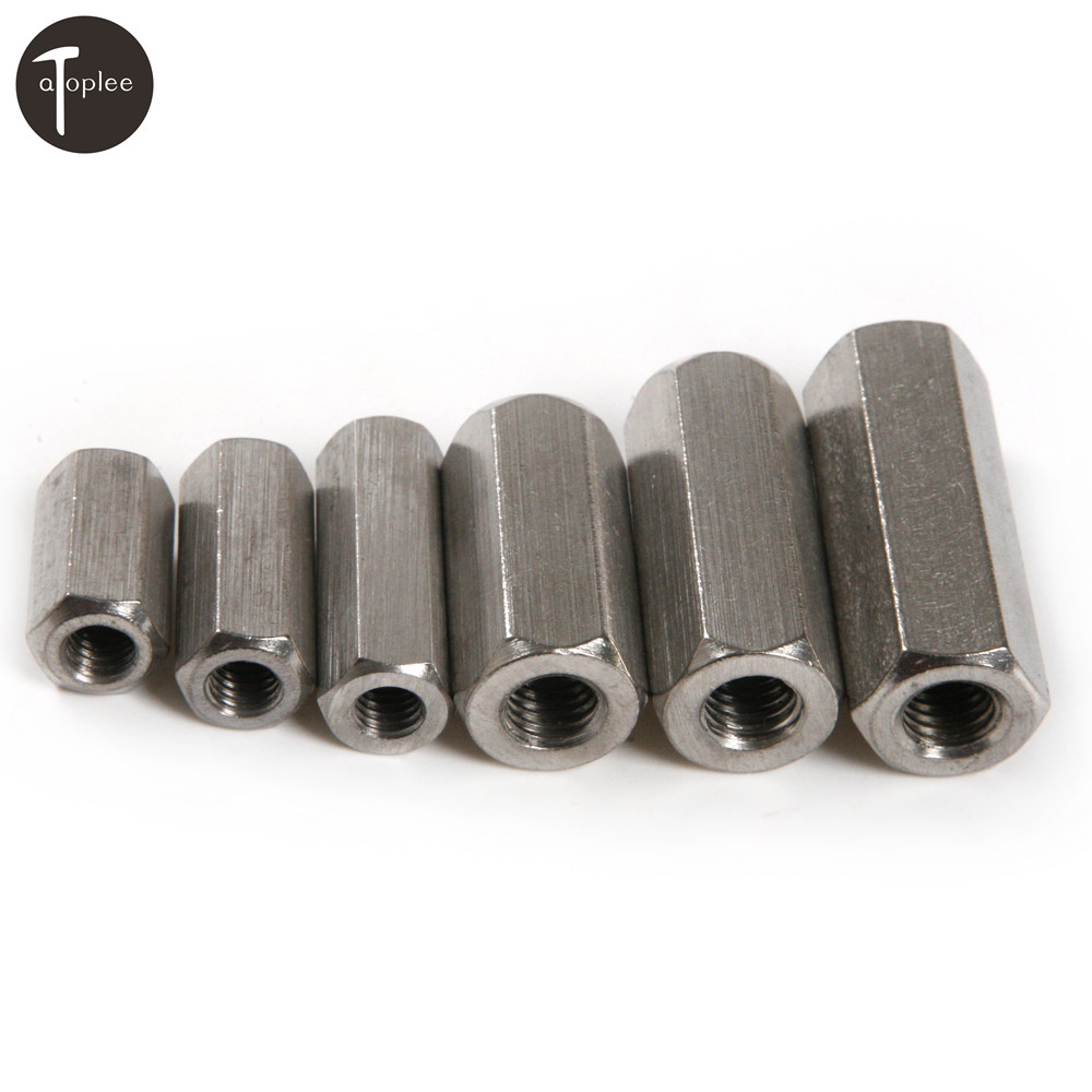 6PCS 304 Stainless Steel Long Rod Coupling Hex Nut M6/M8 Thread Nut High Strength Hex Nutsert Tools цена
