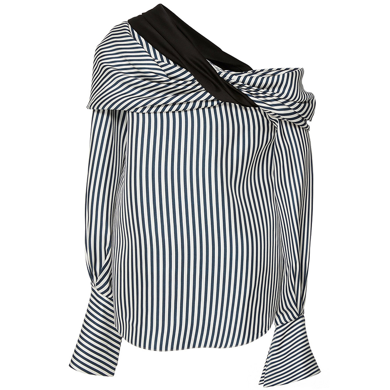 Clocolor Casual Stripe Blouse Shirt Oblique Collar Flare Sleeve Blouses Women Tops Backless Off Shoulder Sexy Blouses fashion