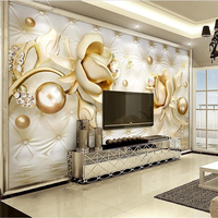 Custom Large Fresco 3d Luxury Gold Roses Soft Bag Ball Jewelry TV Background Wall Wallpaper Living