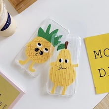 Funny cute summer fruit ananas pear phone case For iPhone Xs MAX XR X 6 6s 7 8 plus suitcase design clear soft TPU back Cover