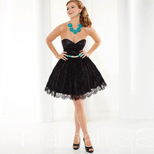 Vestido De Formatura 2015 Neue Homecoming Kleid Schatz Organza & Spitze Mini Black Graduation Dresses Kurze Cocktailkleider