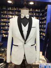 2017 Latest Coat Pant Designs Ivory White Formal Men's Wedding Suits Slim Fit Prom Tuxedo 3 Piece Custom Groom Blazer Vestidos(China)