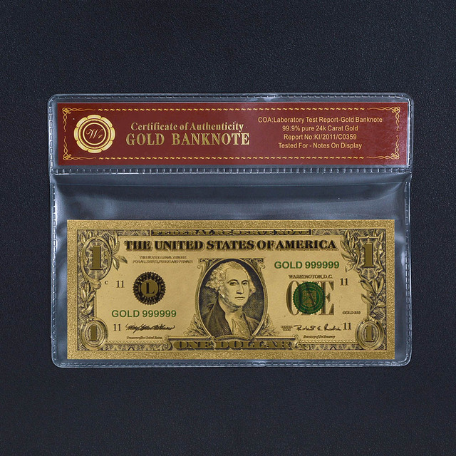 Free Plastic Frame Colored 1 Dollar Gold Banknote Jefferson and ...