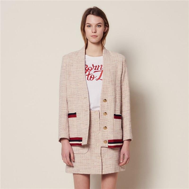Kadın Giyim'ten Basic Ceketler'de 2019 Yeni Kadın Hırka Ceket Altın Düğmeler Küçük Koku Zarif Ceket Üst'da  Grup 1