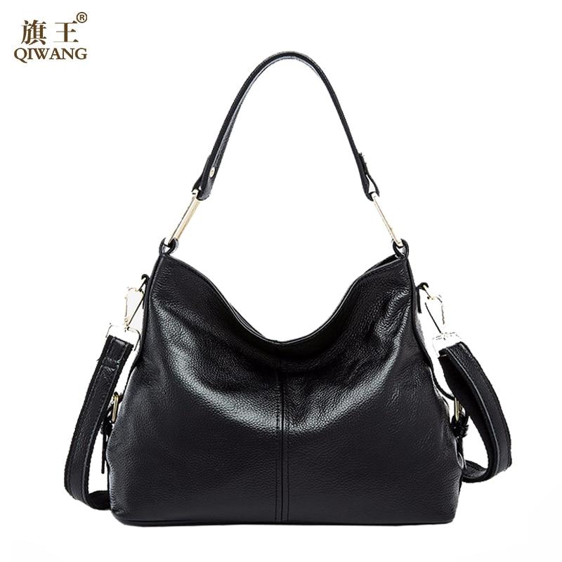 QIWANG 100 Genuine Leather Bag Brand Designer Cowhide Leather Handbags New HOBO Purse Fasion Lad hobo