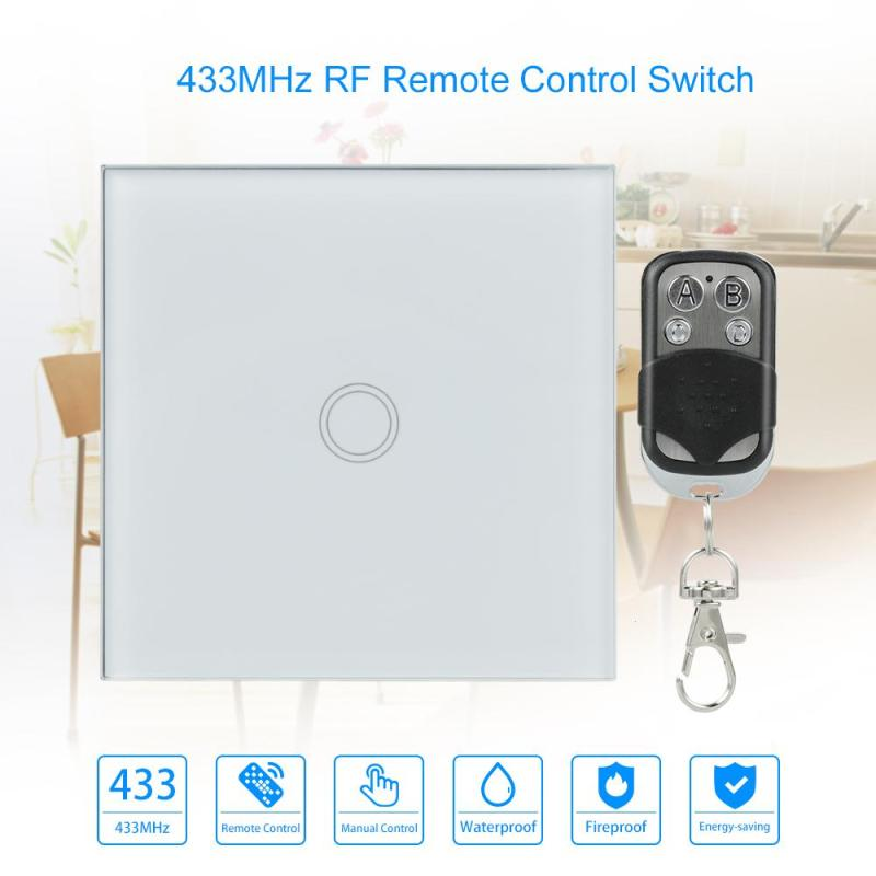 EU Standard Wireless 3 Gang Wall Switch Waterproof Crystal Glass Panel Touch Screen AC110-240V with 433MHz Remote Control Switch mvava 3 gang 1 way eu white crystal glass panel wall touch switch wireless remote touch screen light switch with led indicator