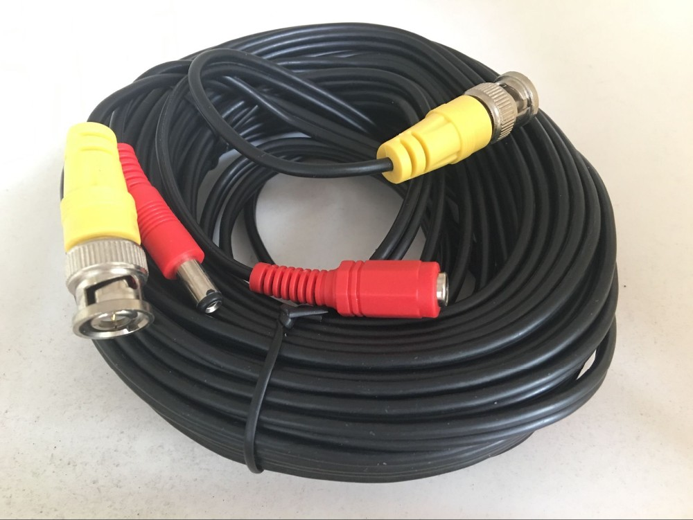 15m CCTV BNC + DC Plug Cable For CCTV Camera Video Power Siamese Cable For Surveillance DVR System Kit