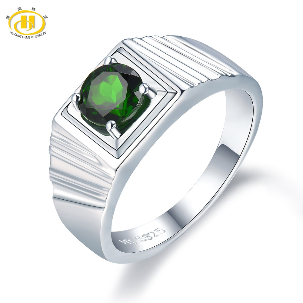 Hutang Men Jewelry Natural Gemstone Chrome Diopside Solid 925 Sterling Silver Ring Fashion Stone Jewelry For Fathers Day GiftHutang Men Jewelry Natural Gemstone Chrome Diopside Solid 925 Sterling Silver Ring Fashion Stone Jewelry For Fathers Day Gift