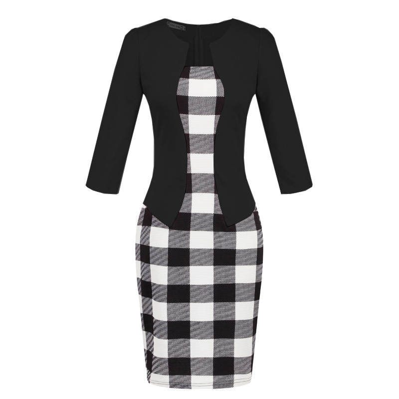 2019 Two piece Professional Women 39 s Bag Hip Pencil Dress Three quarter Sleeve Female Dress Summer in Dresses from Women 39 s Clothing
