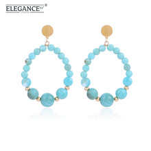 Elegance Vintage Earring Acrylic Stone Beads Round Dangle Drop Earrings for Women Colorful Blue Purple Beads Wholesale vintage kaleidoscope flower drop earring for women blue purple indian mandala pattern round eardrop wholesale brincos 2018