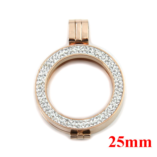 25mm Small Mini Stainless Steel Double Crystal Elements Coin Holder ...