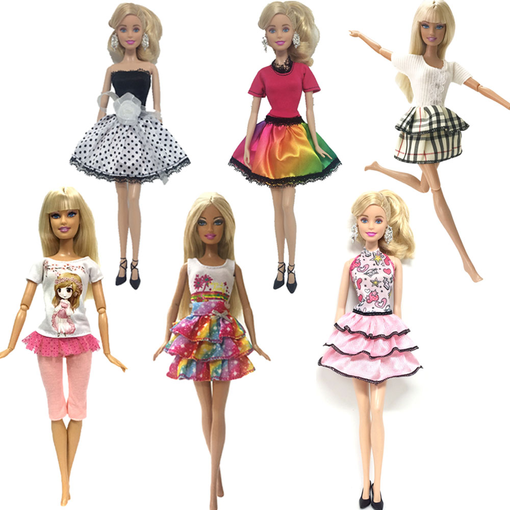 NK 6 PcsSet Newest Doll Dress Beautiful Handmade Party Clothes Top Fashion Outfit For Barbie Doll Accessories Best Girls'Gift