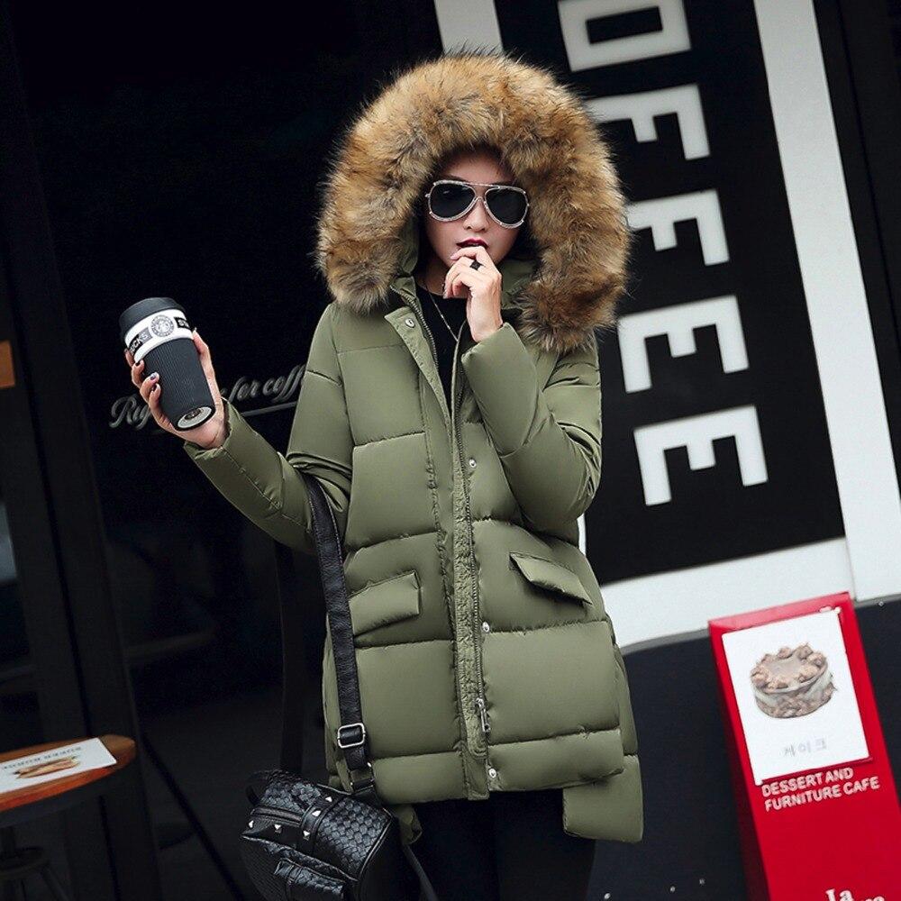 2016 New Fashion Women's winter padded Jacket irregular long Down cotton Coat Female big Fur collar Hoodies jacket