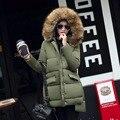 2016 Nueva Moda Mujeres de Talla grande irregular largo de Down chaqueta de invierno acolchados de algodón Femenino Abrigo grande cuello de Piel Con Capucha chaqueta