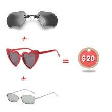 993fd33bbd012 Yok Verão 3 Pcs Set  20 Clipe No Nariz Mini Óculos De Sol Dos Homens Sem Aro  Matriz Steampunk Óculos Em Forma de Coração óculos .