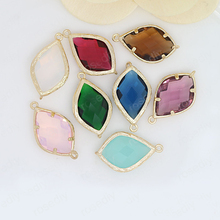 4PCS 13.5x22MM 24K Champagne Gold Color or Silver Brass with Colourful Glass Beads 2 holes Connect Charms Accessories