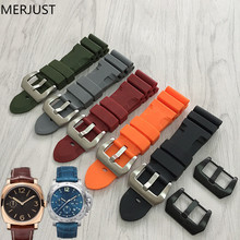 MERJUST Sports Style Rubber Strap 24MM/26MM Strap For Panerai Watch band Dustproof And Waterproof Watchbands For Pam Watch Strap
