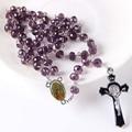 NEW Religious Catholic Saint Virgin Mary Pray Rosary Trendy Long Necklace Silver Plated Jesus Crucifix Cross Pendant 10pcs/llot