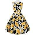 Retro Floral 50s 60s Vintage Dresses Women Audrey Hepburn Pinup Rockabilly Summer Dress Sleeveless 2017 Fashion Wiggle Vestidos