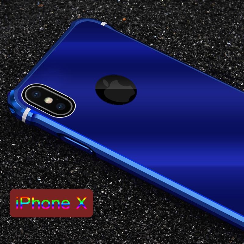 Leanonus Aluminum Metal Case for iPhone X 8 Plus 7Plus Metal Frame+PC Hybrid Back Cover Shockproof Slim Casing for iPhone8 10