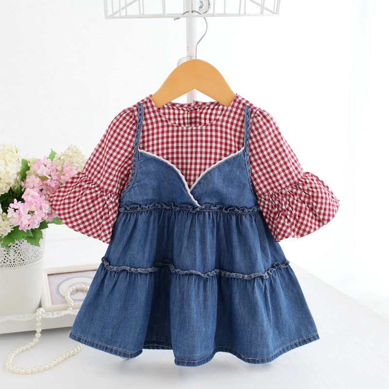 infant clothes 2018 spring new girl dress cute lantern sleeve denim faux 2pcs dress baby girl summer clothes for 0-2 kids dress