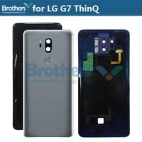 Pil Konut için LG G7 ThinQ Pil Kapı ile Parmak Izi + Kamera Cam arka kapak için LG G710 G710EM Yedek Orijinal Cep telefonu yuvası    -
