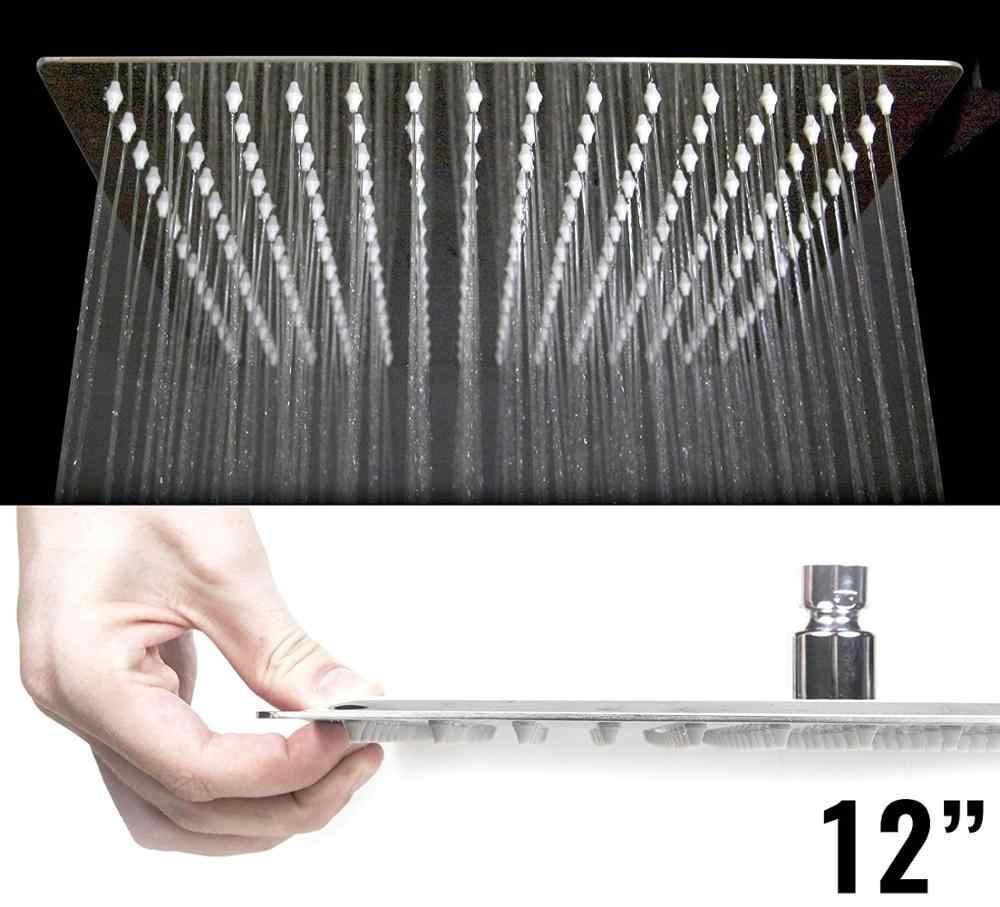 8/10/12 cal kwadratowy deszczownica głowy PLUS 11-cal mosiądzu kąt regulowany wysięgnik do montażu na ścianie Chrome