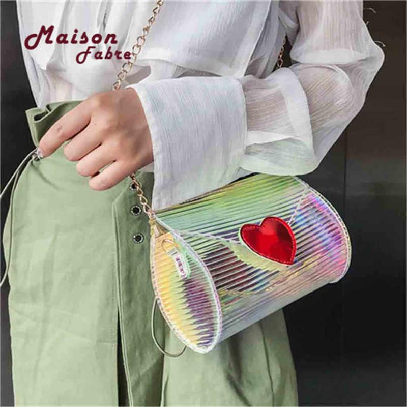 HB Luxury Fashion Laser Bag Gradient Color Sequins Box Female Party Bag  Shoulder Bag Chain fff91c4f00d1