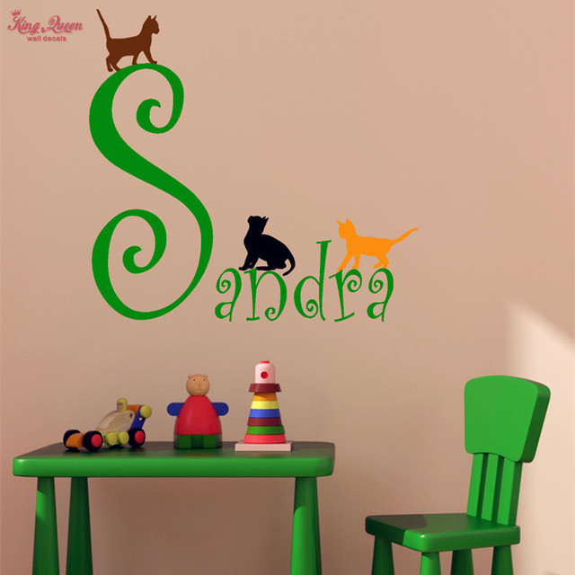 Custom Girls Name Wall Decal And Three Cute Kitten Decal, Girls