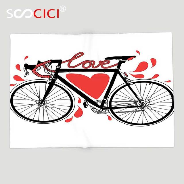 Custom Soft Fleece Throw Blanket Valentines Day Love Decor Bike Enchanting Bicycle Throw Blanket
