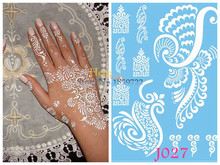 1PC Removal Indian Henna Tattoo Stickers J027 Fake Wings Fly Phoenix Temporary Tatoo White Ink Mehndi Henna Paste Paper