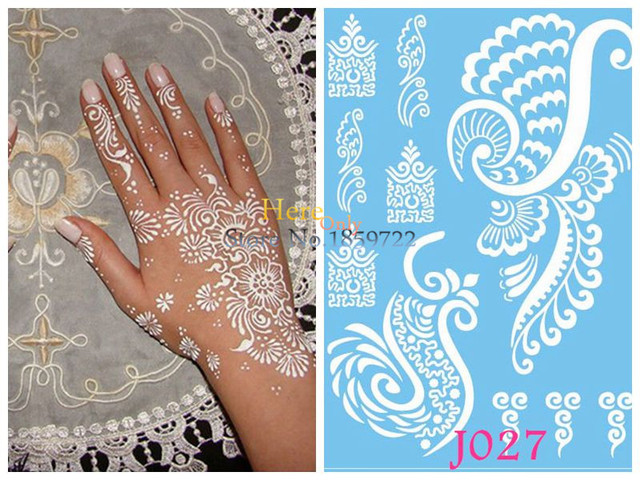 Henna Mehndi Stickers : Pc removal indian henna tattoo stickers j fake wings fly