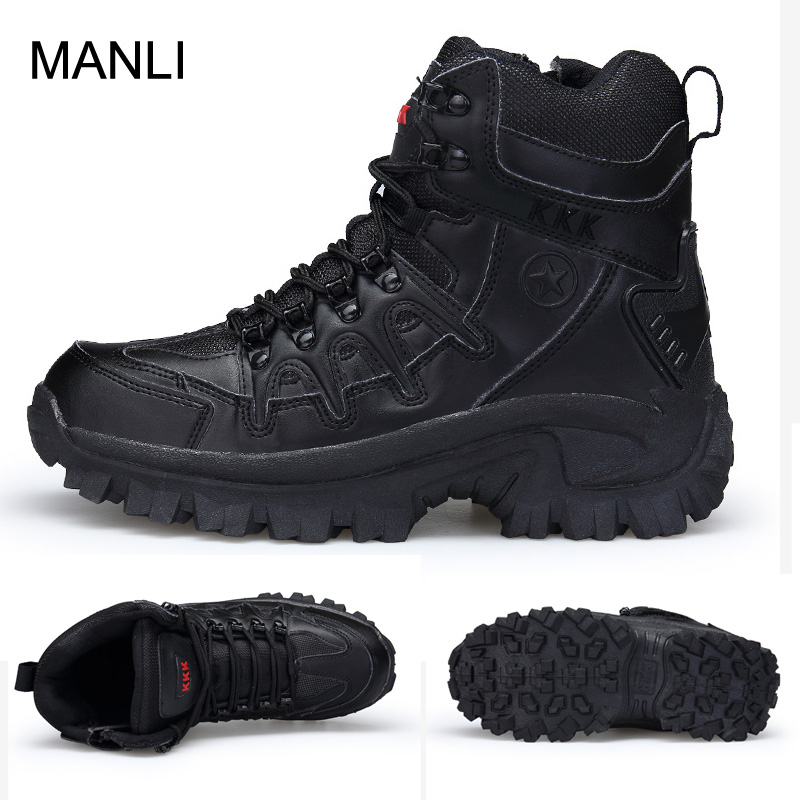 Winter Autumn Hiking Shoes Men Military Boots Quality Special Force Tactical Desert Combat Ankle Boats Work Leather Snow Boots winter autumn men high quality brand military leather boots special force tactical desert combat boats outdoor shoes snow boots