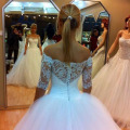 Glamorous Off the Shoulder Lace Half Sleeve Puffy Wedding Gown