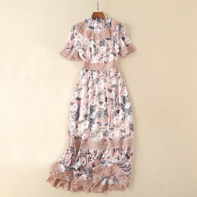 398a47326dc crochet lace patchwork pink   blue flowers dress ruffles collar short  sleeve a line boho summer long dress elegant long dresses