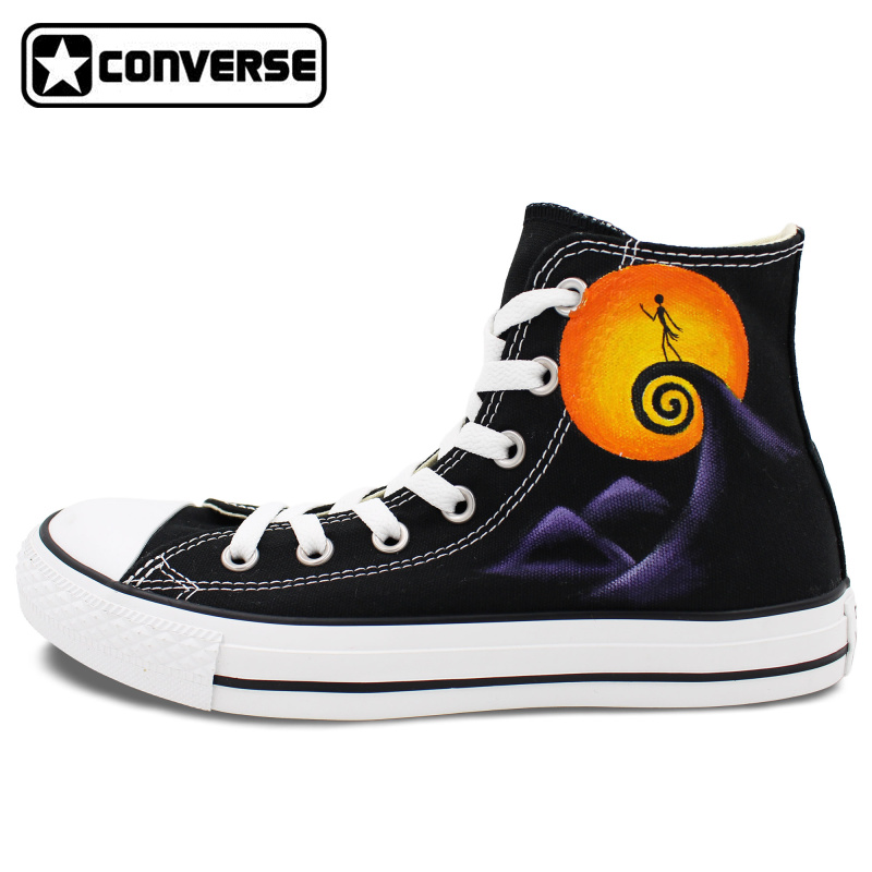 Jack Skellington Converse All Star Man Woman Shoes Nightmare Before Christmas Design Hand Painted Sneakers Men Women Gifts  classic original converse all star minim musical note design hand painted shoes man woman sneakers men women christmas gifts