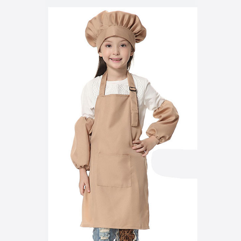 Childrens Kids School Cooking Craft Apron  Front Pocket Baking Plain Kitchen