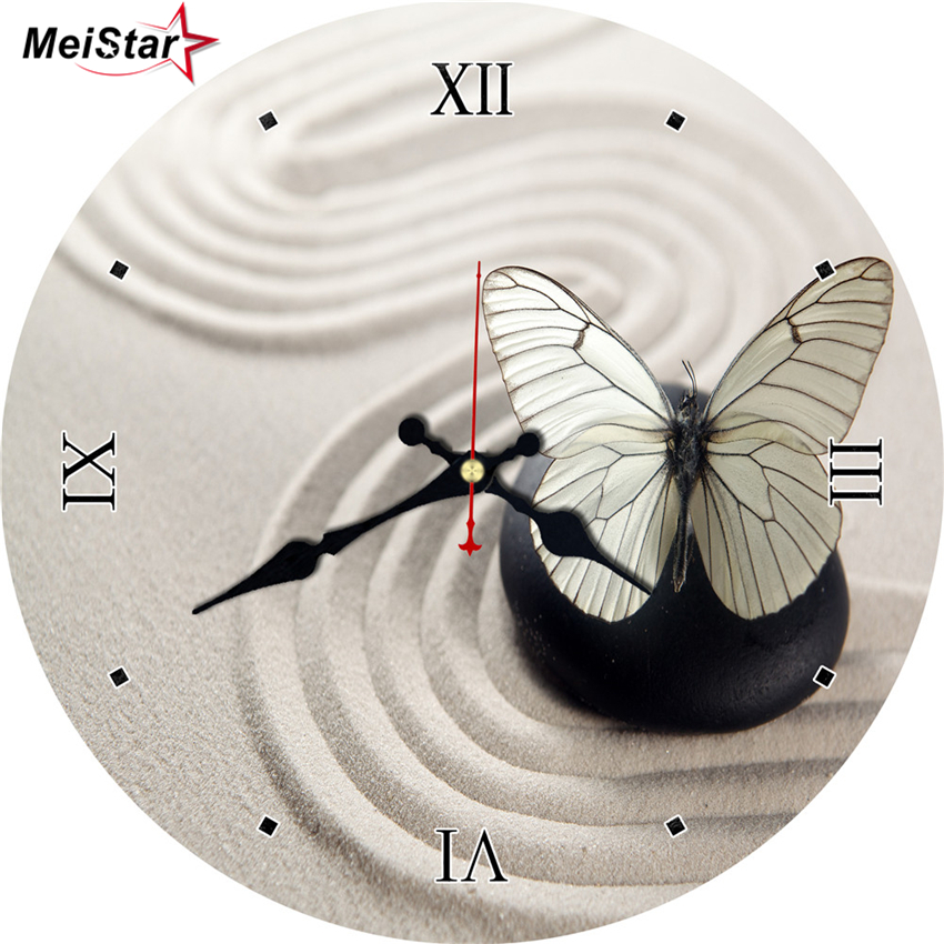 MEISTAR Butterfly Antique Round Clocks For Bath Room Kitchen Home & Garden Room Decor Silent Watches Large Size Wall Art Clock