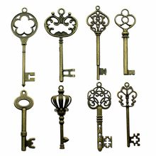 6pcs/lot Charms Retro Key Antique Bronze Color Retro Key Charms Jewelry Findings Diy Vintage Key Charms Wholesale(China)