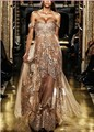 Sexy Evening Dresses Zuhair Murad Off Shoulder Chiffion Lace Applique Champagne Celebrity Dresses Evening Gowns