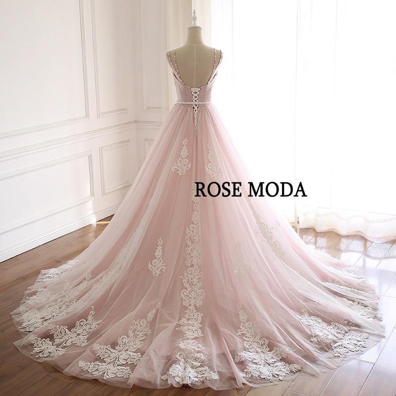 de casamento lindo rosa com decote em