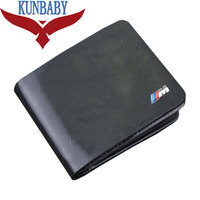 New Genuine Leather Black Car Logo Document Bag Wallet Card Package For BMW M Logo E21
