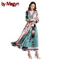 By Megyn Autumn Maxi Dress Runway High Quality Vintage Women Fashion V Neck Print Pressure Pleated
