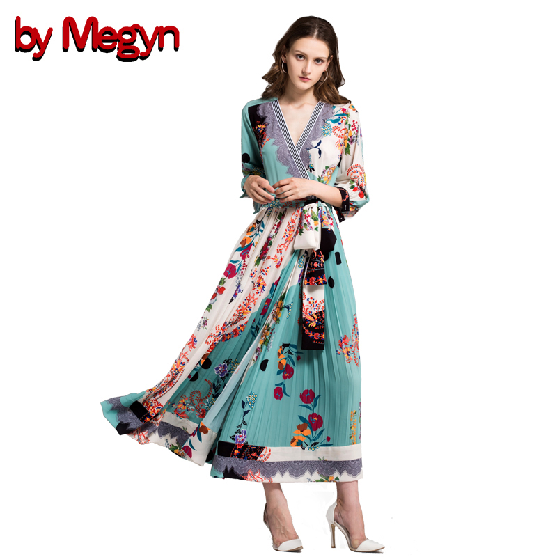 by Megyn autumn Maxi dress runway high quality vintage women fashion V-Neck Print Pressure Pleated With Sashes Long dresses