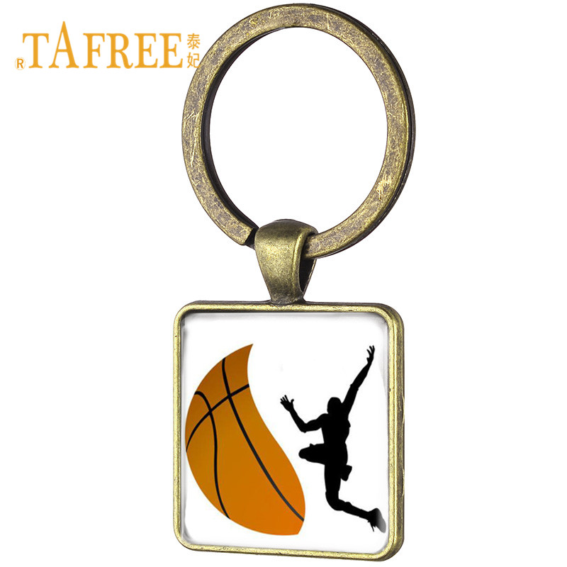 TAFREE New Square Pendant Basketball player Silhouette Keychain Football,golf,volleyball Players Pendant Key Ring Chain FQ675