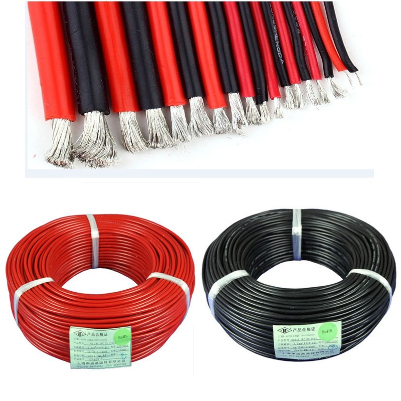 2PCS 1M Red + 1M Black Silicon Wire 12AWG 14AWG 16AWG 18AWG 22AWG 24AWG 26AWG 28AWG Heatproof Soft Silicone Wire SR Wire 1meter red black blue12 10 12awg 10awg heatproof soft silicone silica gel wire connect cable for rc model battery part