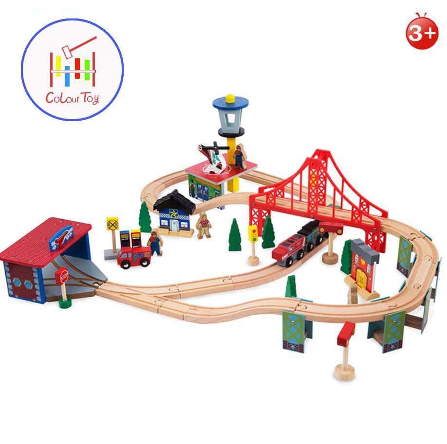 TOEPAK 70pcs Train Toy Model Cars Wooden Building Slot Track Rail Transit Parking Garage Toy Vehicles Kids Gifts