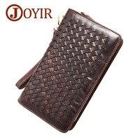 JOYIR Caliente hombres de la moda cartera de cuero genuino cartera de mano bolsa de viaje carpetas largas al por mayor tejer estilo hombres carteras 9363